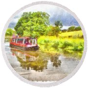 Canal Boat On The Leeds To Liverpool Canal Round Beach Towel