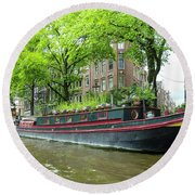 Canal Boats In Amsterdam - 2 Round Beach Towel
