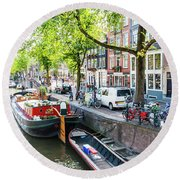 Canal Boats In Amsterdam Round Beach Towel