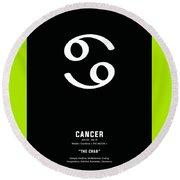 Cancer Poster 2 - Zodiac Signs Print - Zodiac Posters - Cancer Print - Black, White - Cancer Traits Round Beach Towel