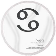 Cancer Poster - Zodiac Signs Print - Zodiac Posters - Cancer Print - Black And White - Cancer Traits Round Beach Towel