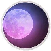Cancer Super Wolf Blood Moon Near Eclipse Round Beach Towel