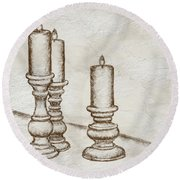 Candlesticks Round Beach Towel
