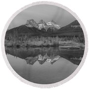 Canmore Alberta Glowing Mountain Peaks Black And White Round Beach Towel
