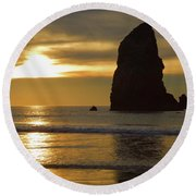Cannon Beach November Evening Round Beach Towel