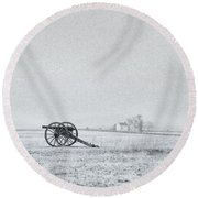 Cannon Out In The Field Round Beach Towel