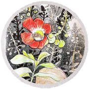 Cannonball Flower Botanical Round Beach Towel