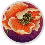Round Beach Towel featuring the painting Cantaloupe Countenance by Amy E Fraser