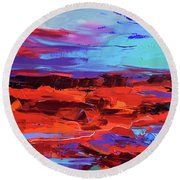 Canyon At Dusk Round Beach Towel