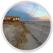 Cape Cod Beach House At Sunset Round Beach Towel