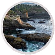 Round Beach Towel featuring the photograph Cape Flattery by Ed Clark