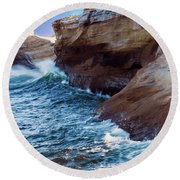 Cape Kiwanda Oregon V4 Round Beach Towel