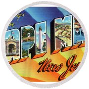 Cape May Greetings - Version 1 Round Beach Towel