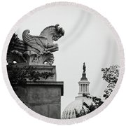 Capitol Statues Round Beach Towel