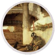 Carel Fabritius The Gate Guard/the Sentry, 1654. Painting. Oil On Canvas. Round Beach Towel