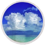 Caribbean Clouds Round Beach Towel