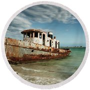 Round Beach Towel featuring the photograph Caribbean Shipwreck 21002 by Rick Veldman