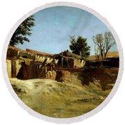 Carlos De Haes / 'tile Factories On Principe Pio Hill', Ca. 1872, Spanish School. Round Beach Towel