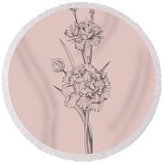 Carnation Blush Pink Flower Round Beach Towel