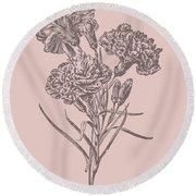 Carnations Bush Pink Flower Round Beach Towel
