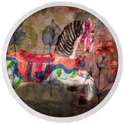 Round Beach Towel featuring the photograph Carousel Prancing Dream by Michael Arend