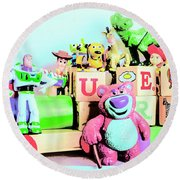 Carriage Of Cartoon Characters Round Beach Towel