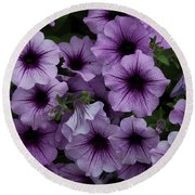 Cascade In Violet Round Beach Towel