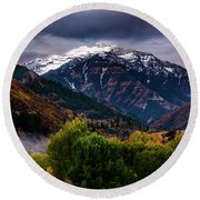 Round Beach Towel featuring the photograph Cascade Mountain by TL Mair