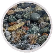 Cascading Motion Of The Creek Round Beach Towel