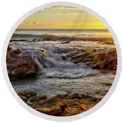 Cascading Sunset At Crystal Cove Round Beach Towel