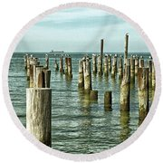 Round Beach Towel featuring the photograph Casino Pilings At Cape Charles Virginia by Bill Swartwout Fine Art Photography