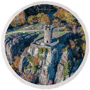 Round Beach Towel featuring the photograph Castle Craig by Michael Hughes
