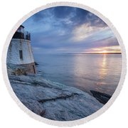 Castle Hill Light Sunset Round Beach Towel