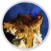 Cat And The Cobalt Blue Wall Round Beach Towel