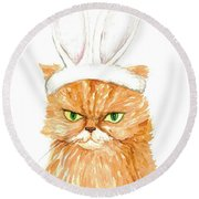 Cat Easter Bunny Watercolor Art Round Beach Towel
