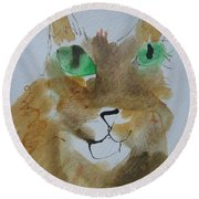 Round Beach Towel featuring the drawing Cat Face Yellow Brown With Green Eyes by AJ Brown