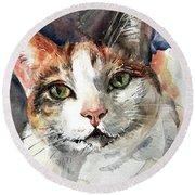 Cat In Watercolor Round Beach Towel