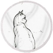 Cat Ink Drawing 2019 04 28 Round Beach Towel