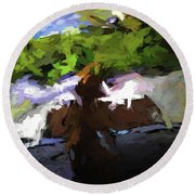 Cat On The Porch Round Beach Towel