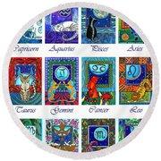 Cat Zodiac Astrological Signs Round Beach Towel