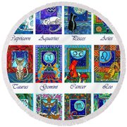 Cat Zodiac Astrological Signs Round Beach Towel