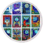 Cat Zodiac Paintings  Round Beach Towel