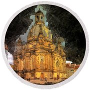 Cathedral, Dresden Round Beach Towel
