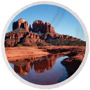 Cathedral Rock Reflection II Round Beach Towel