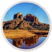 Cathedral Rock Reflection Round Beach Towel