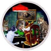 Cats Are Wild Poker Round Beach Towel