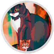 Cats Parent And Child Round Beach Towel