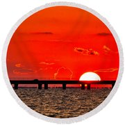 Causeway Sunset Round Beach Towel