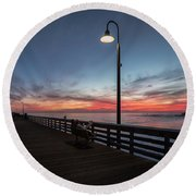 Cayucos Pier Sunset Round Beach Towel