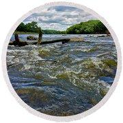 Round Beach Towel featuring the photograph Cedar River Iowa by Dan Miller